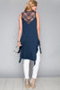 Back view woman wearing blue high low ruffle trim tank top with studs