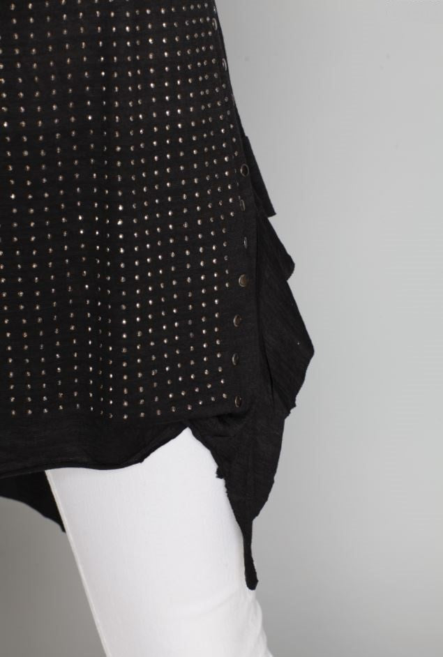 Side detail view black high low ruffle trim tank top with studs