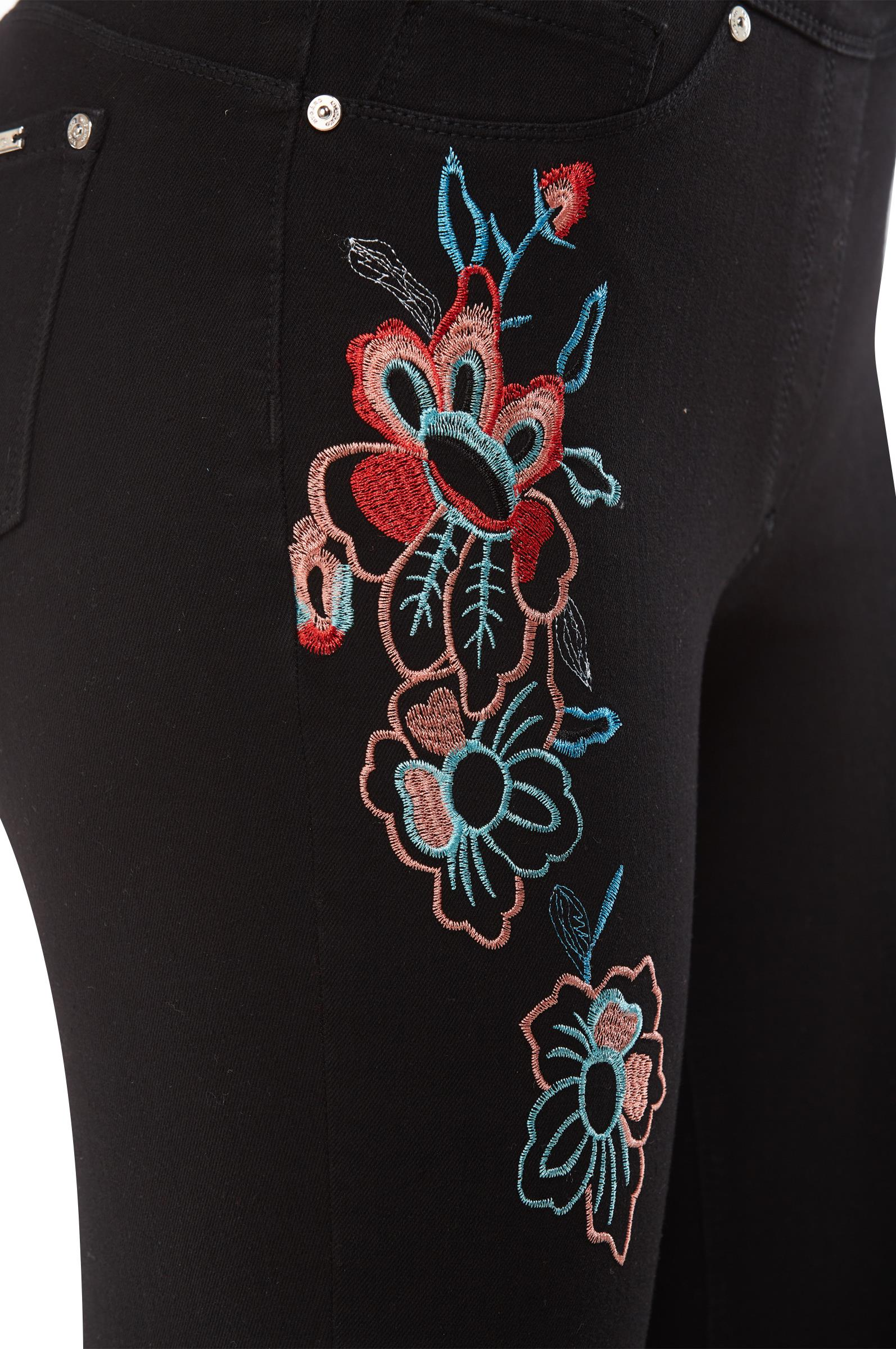 Black compression cropped pants floral embroidery detail