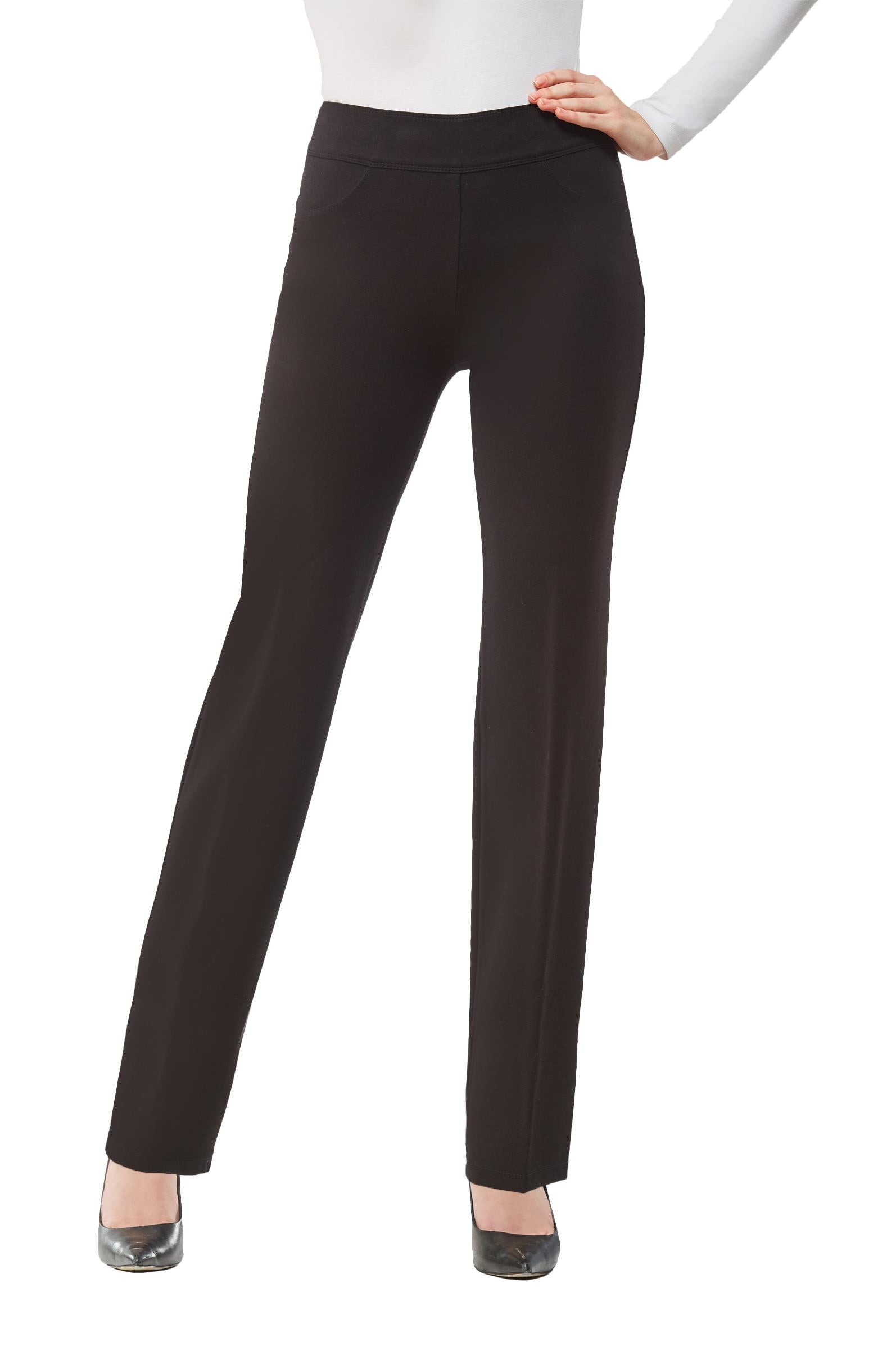 Front view woman wearing black Nygard Slims straight leg luxe ponte pants