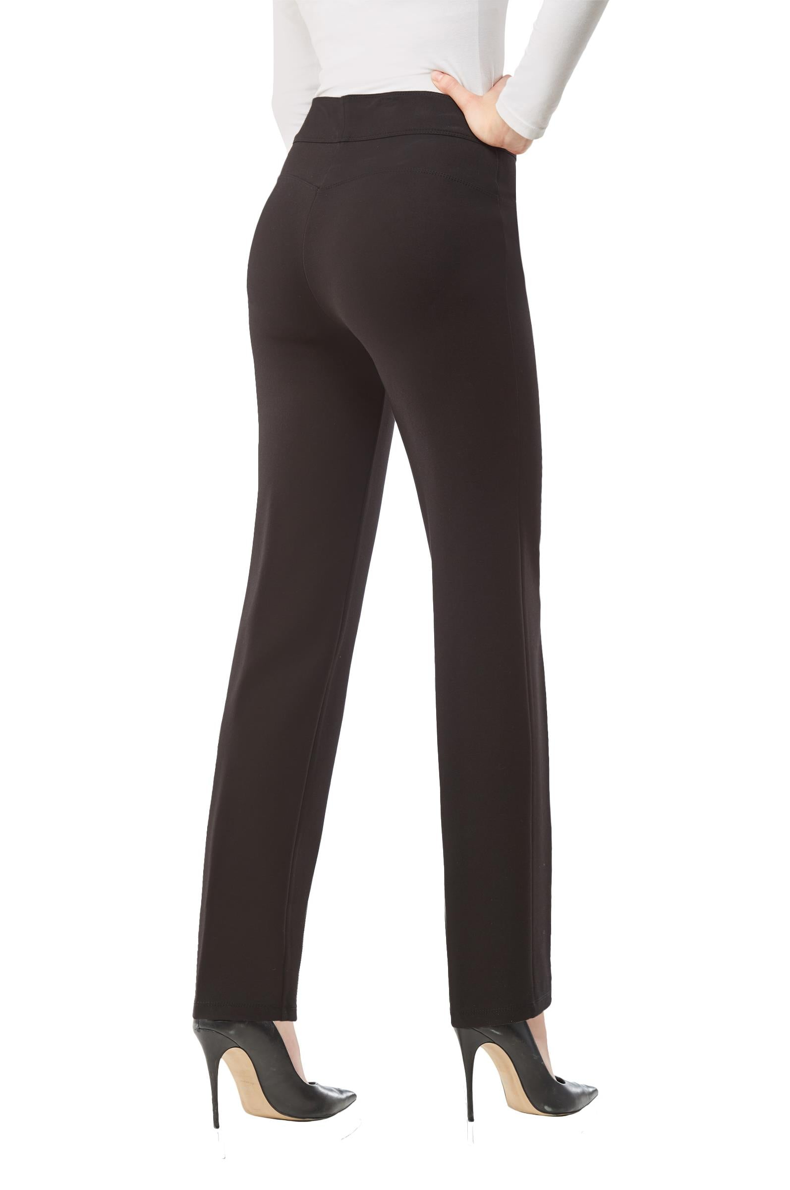 Back view woman wearing black Nygard Slims straight leg luxe ponte pants