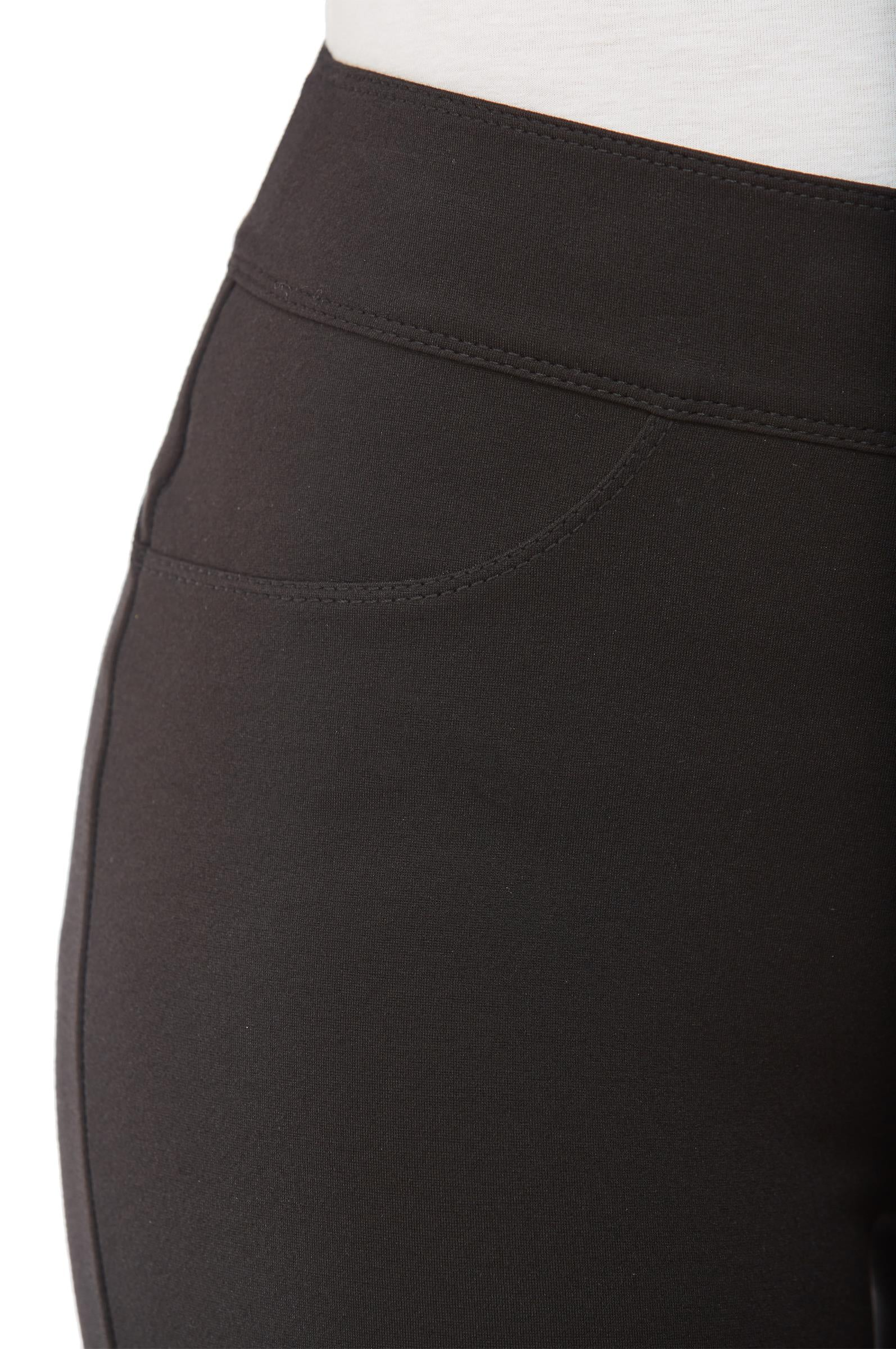 Detail view black Nygard Slims straight leg luxe ponte pants
