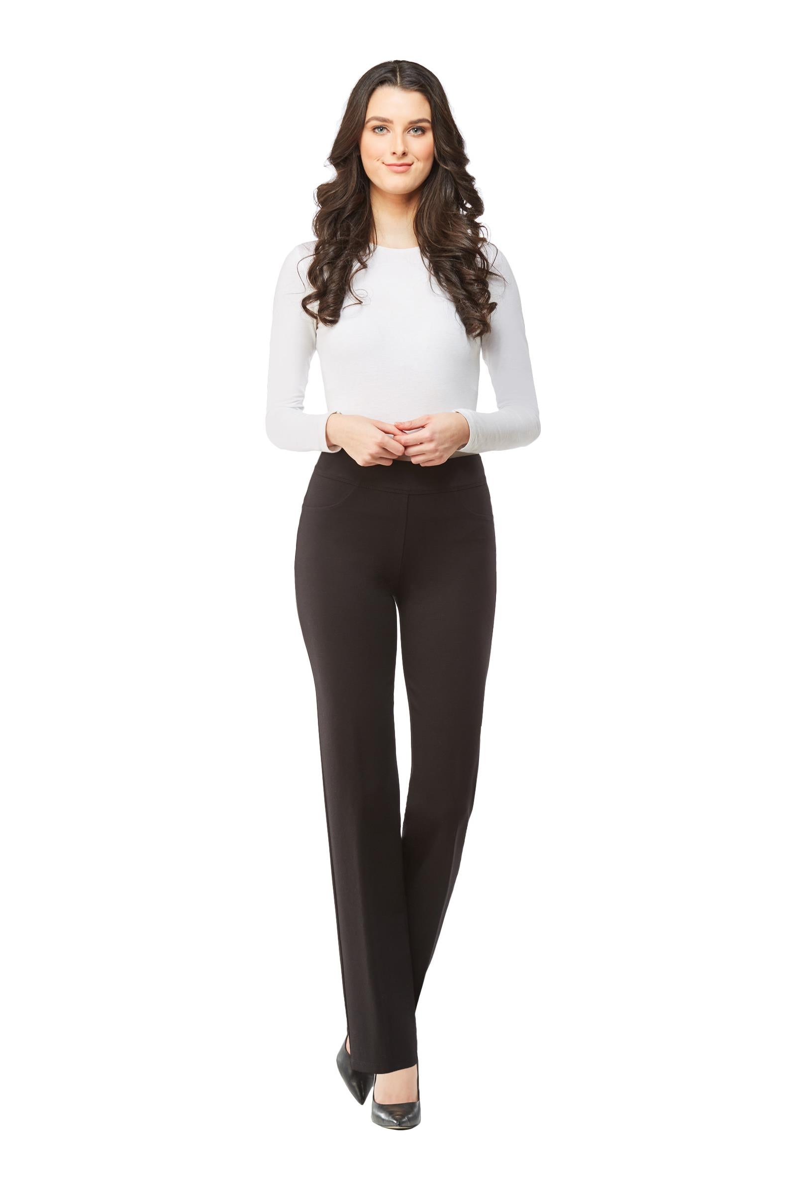 Full front view woman wearing black Nygard Slims straight leg luxe ponte pants