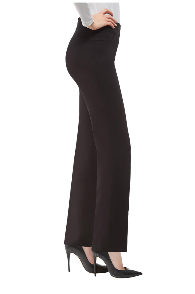 Right side view woman wearing black Nygard Slims straight leg luxe ponte pants