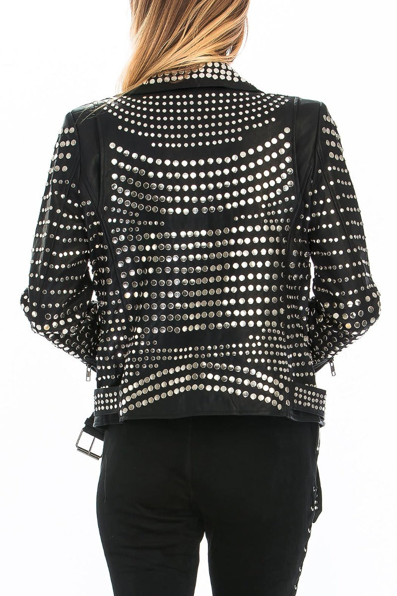 Back view young woman wearing black studded vegan leather motorcycle jacket-2
