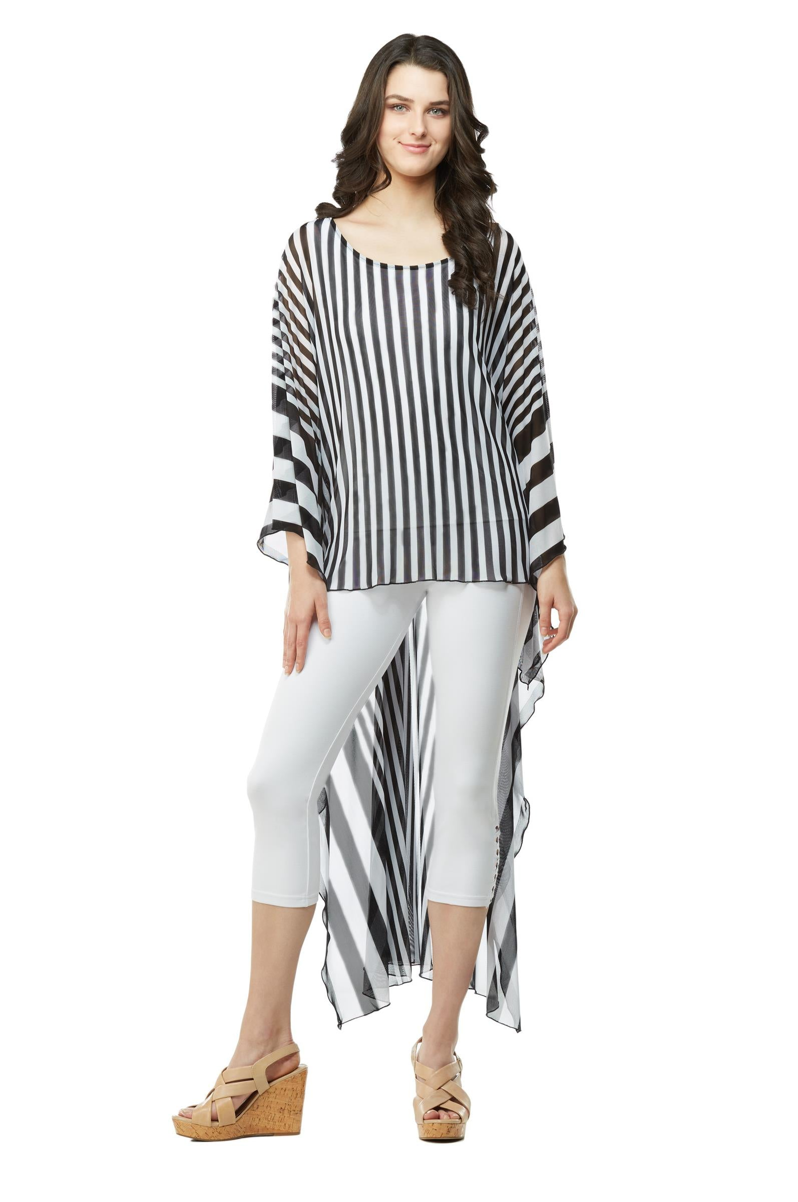 Front view woman wearing extreme high low tunic top in black and white stripes - 2