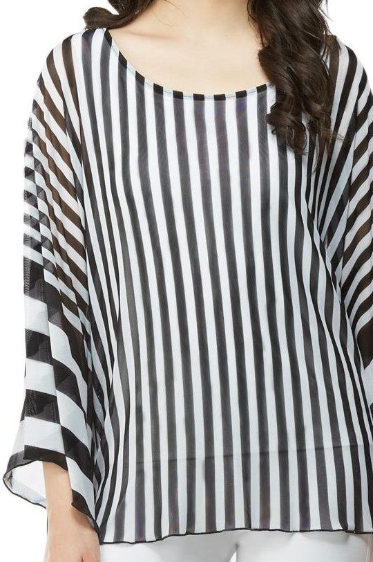 Front detail view extreme high low tunic top in black and white stripes