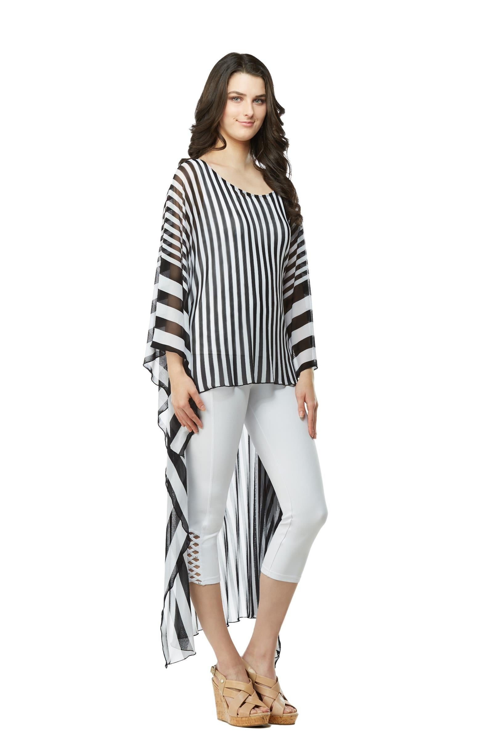 Front view woman wearing extreme high low tunic top in black and white stripes - 3