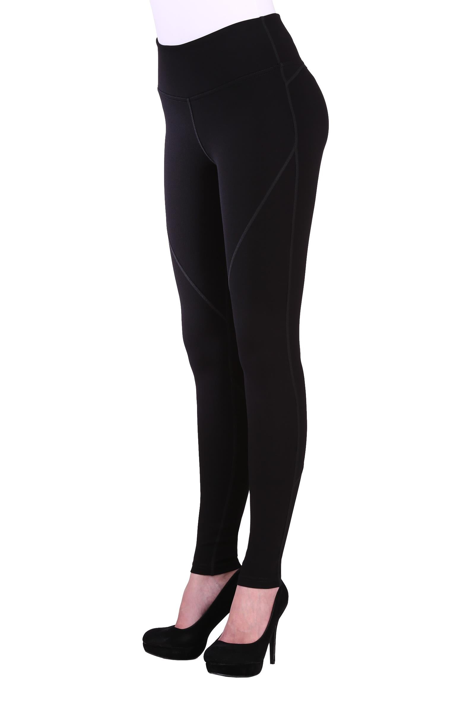 "Front view woman wearing black seamed performance leggings from Nygard Slims with 4"" waistband"