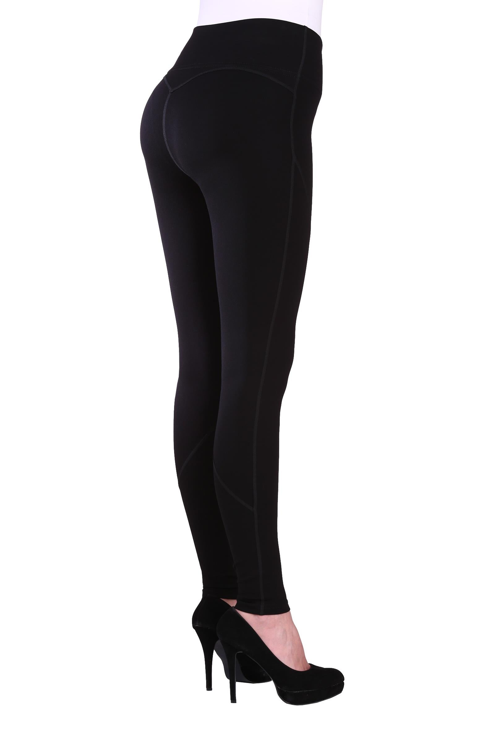 "Back view woman wearing black seamed performance leggings from Nygard Slims with 4"" waistband"
