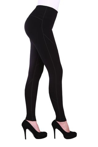 "Side view woman wearing black seamed performance leggings from Nygard Slims with 4"" waistband"