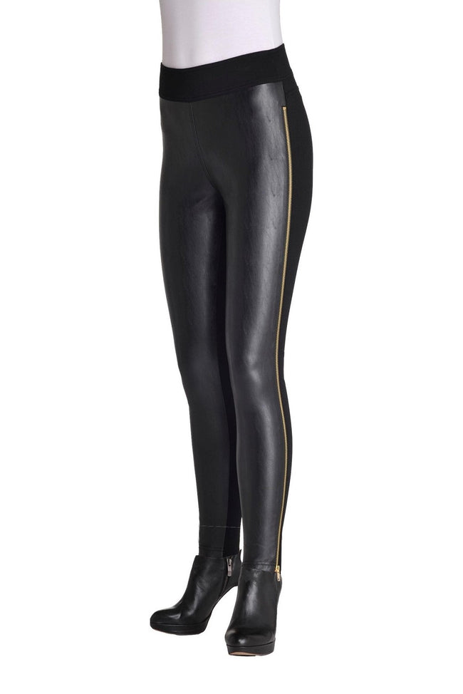 Front view woman wearing black pleather-front leggings with full side gold zipper from Nygard Slims