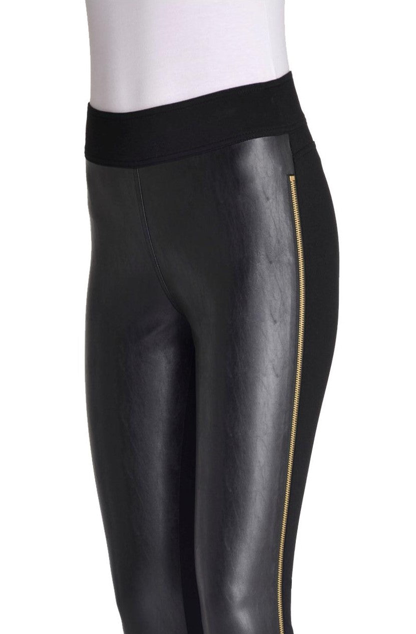 Detail view woman wearing black pleather-front leggings with full side gold zipper from Nygard Slims