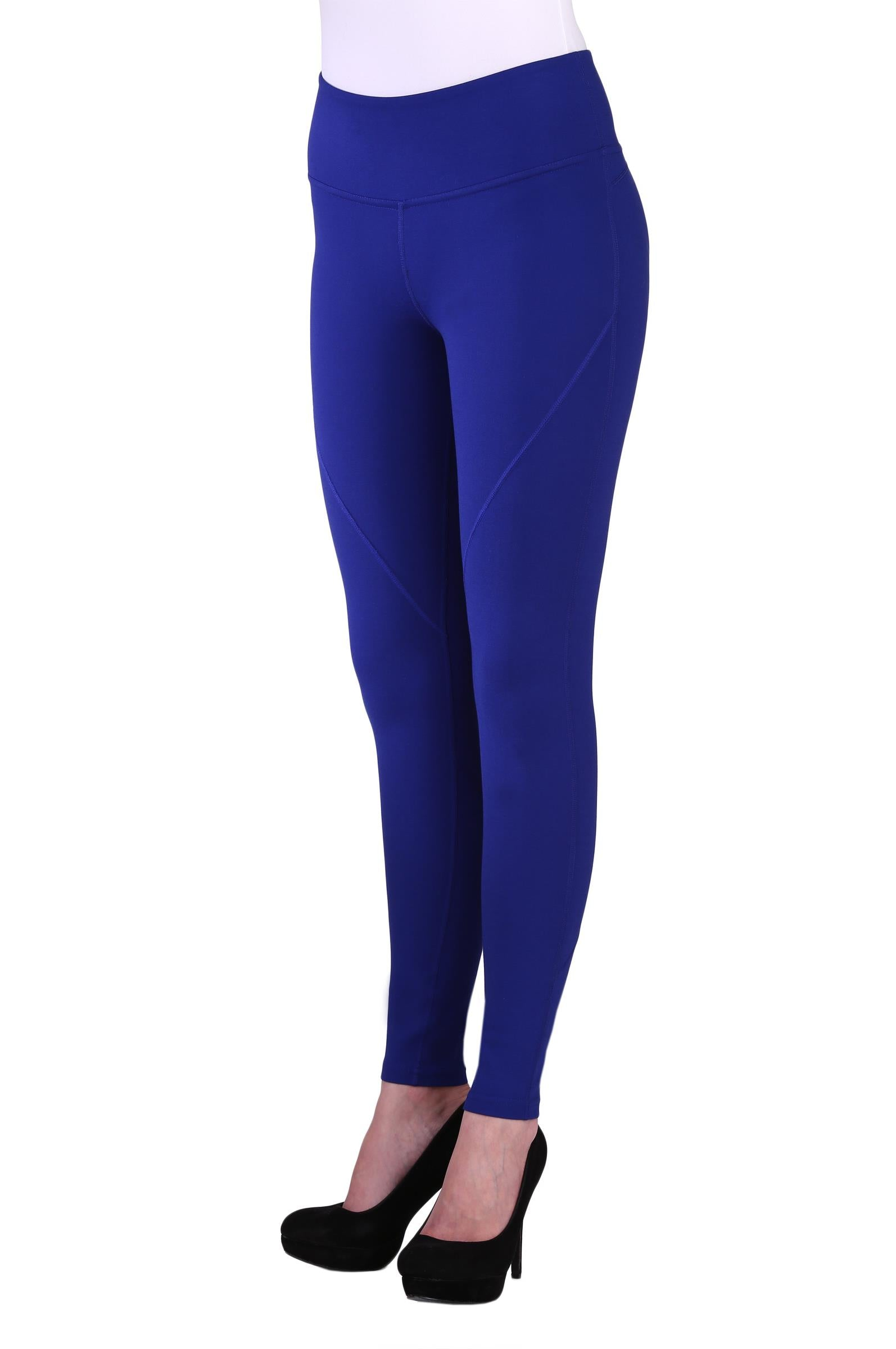 "Front view woman wearing blue seamed performance leggings from Nygard Slims with 4"" waistband"