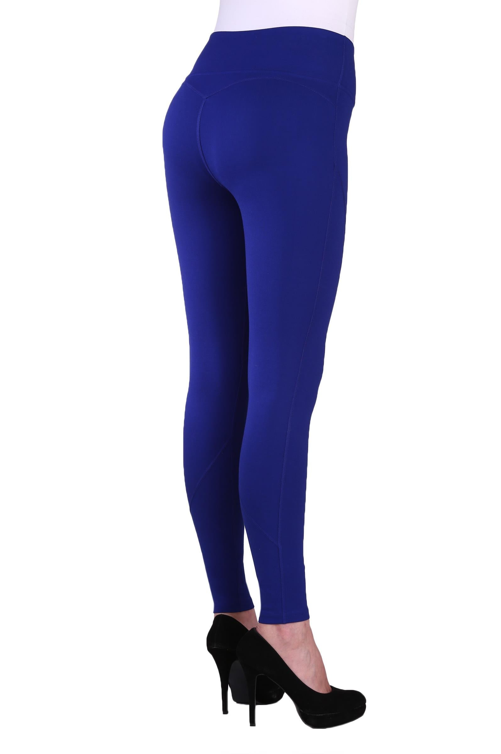 "Back view woman wearing blue seamed performance leggings from Nygard Slims with 4"" waistband"