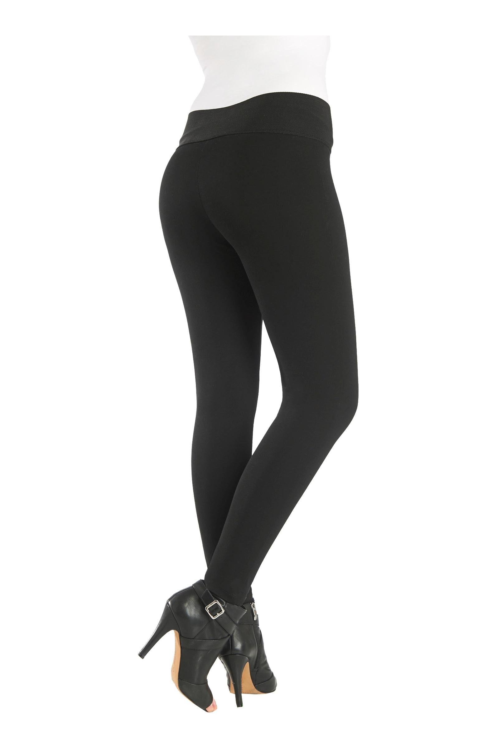 "Back view woman wearing black compression leggings with wide 3.5"" waistband from Nygard Slims"