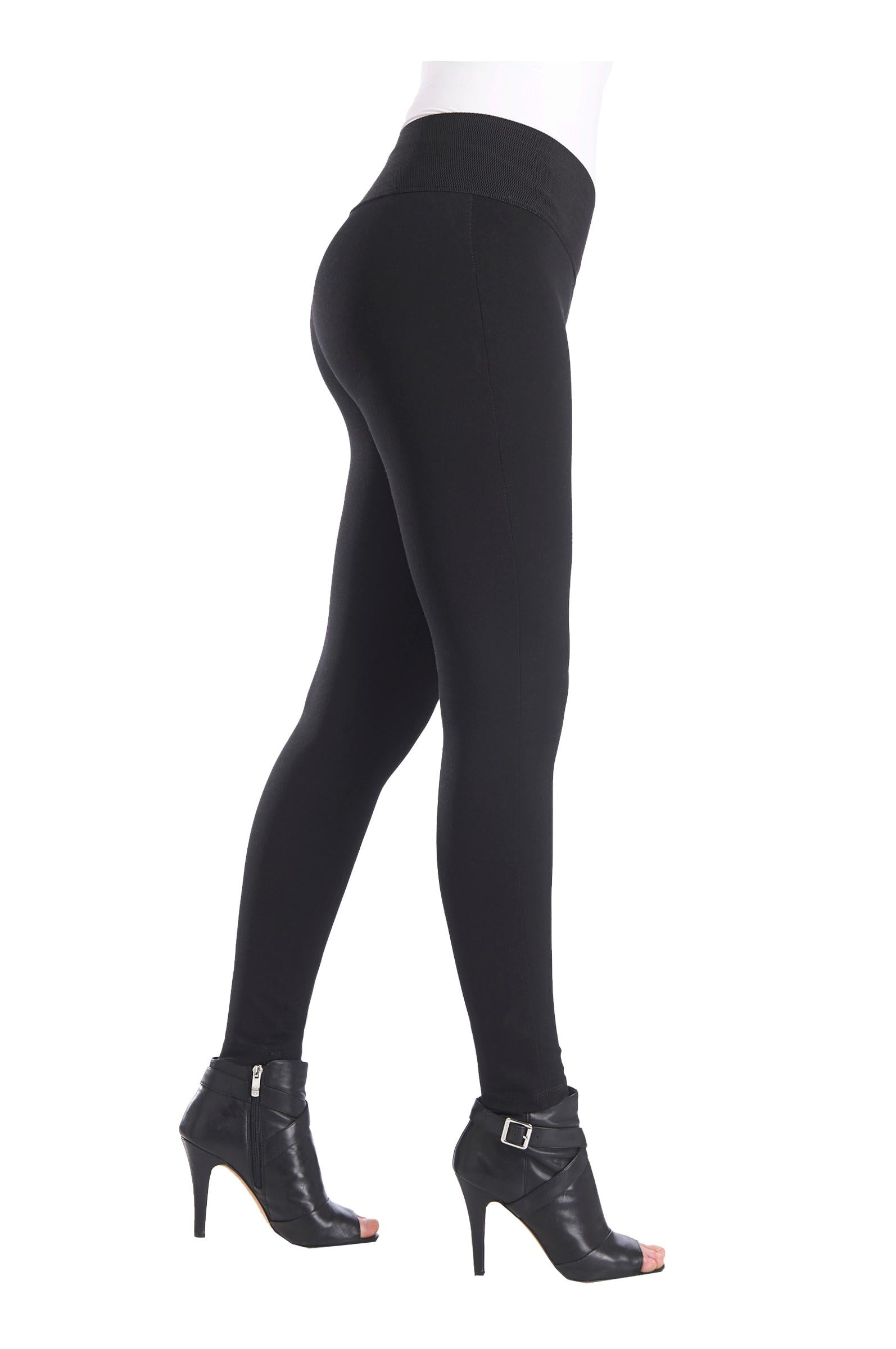 "Side view woman wearing black leggings with wide 3.5"" from Nygard Slims"