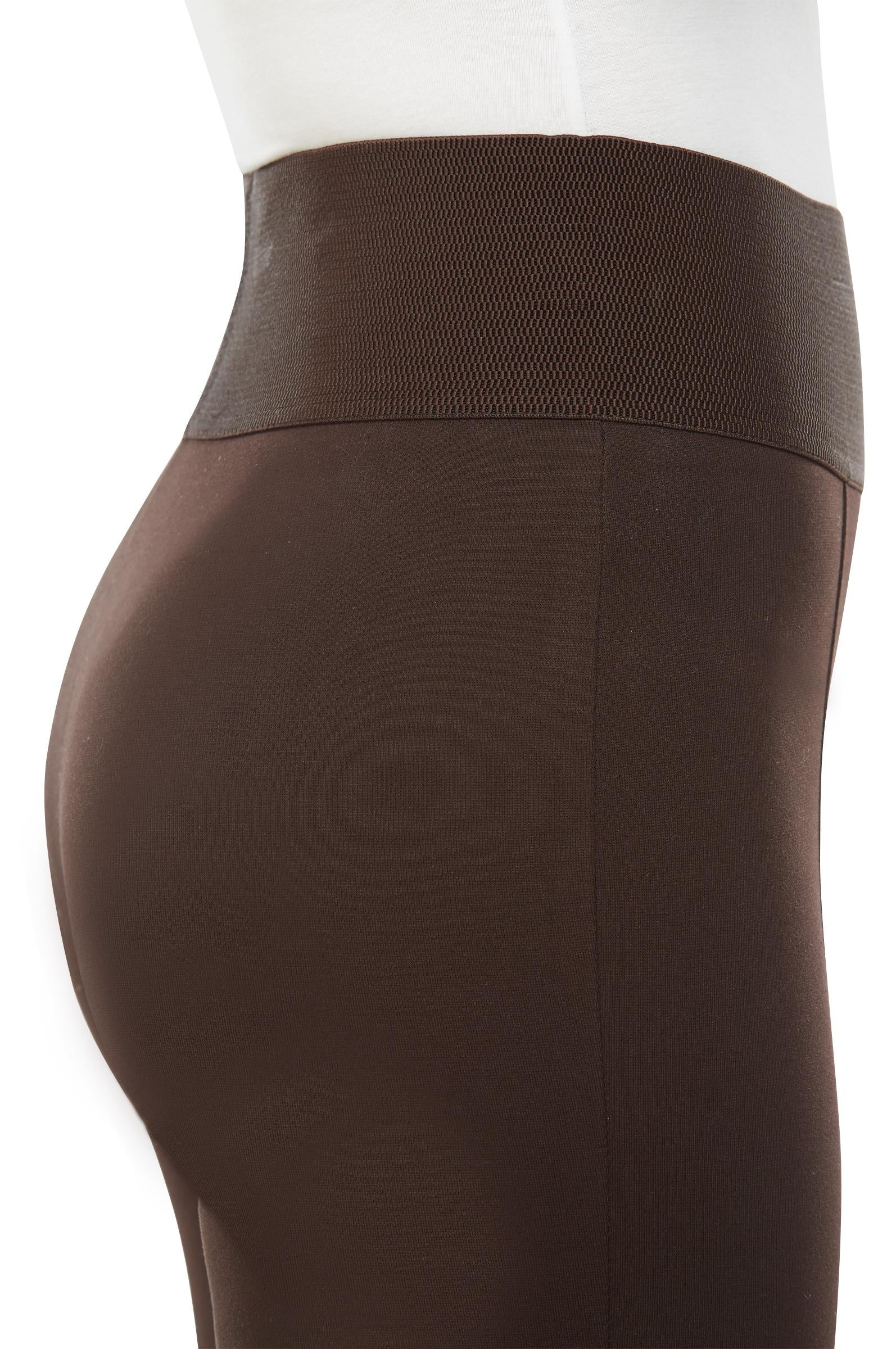 "Detail view woman wearing black leggings with wide 3.5"" waistband from Nygard Slims"