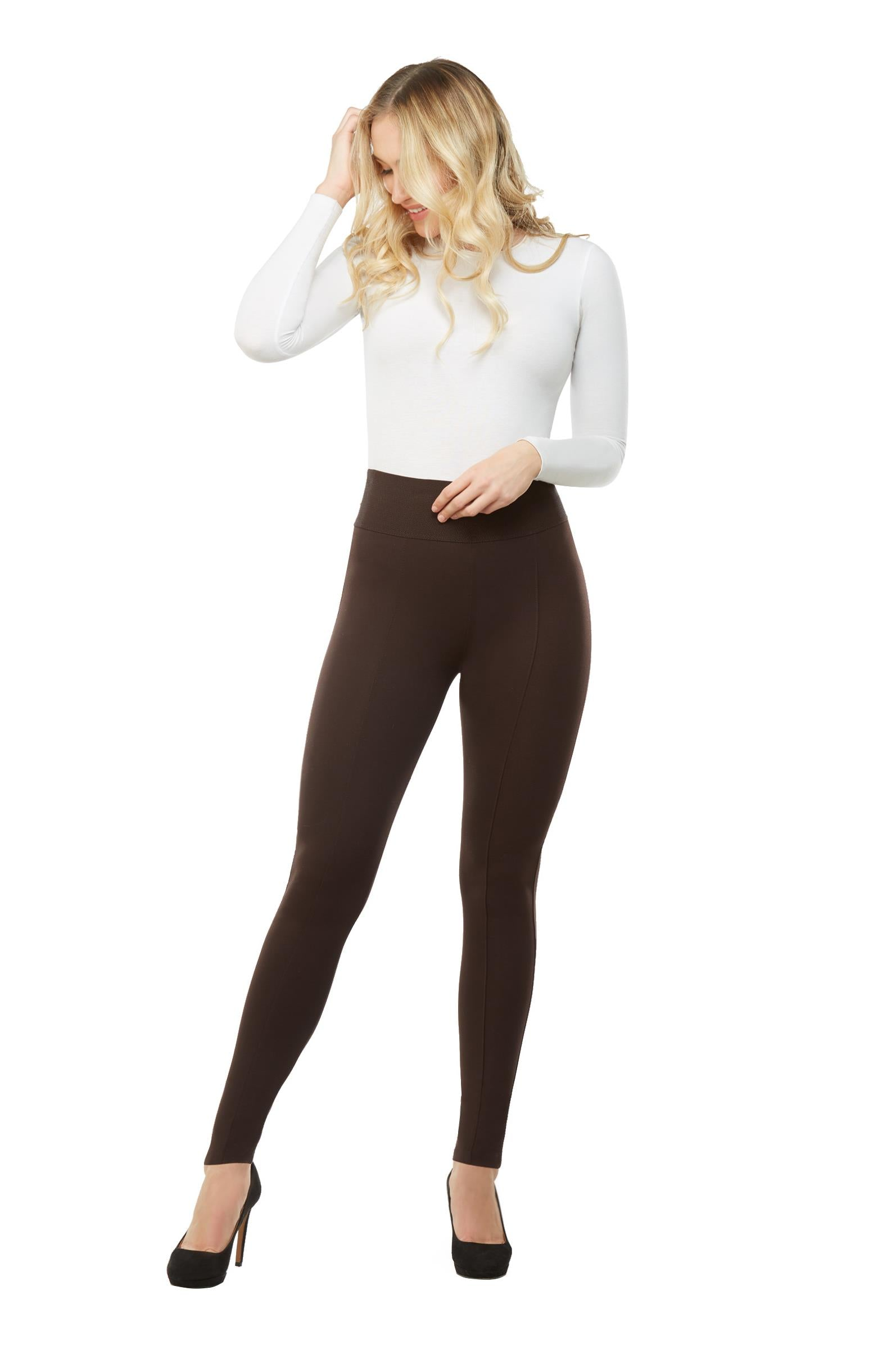 "Full body view woman wearing black leggings with wide 3.5"" waistband from Nygard Slims"