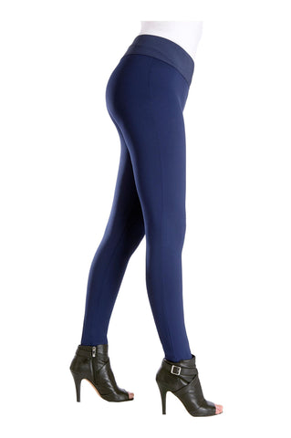 "Side view woman wearing navy leggings with wide 3.5"" waistband from Nygard Slims"