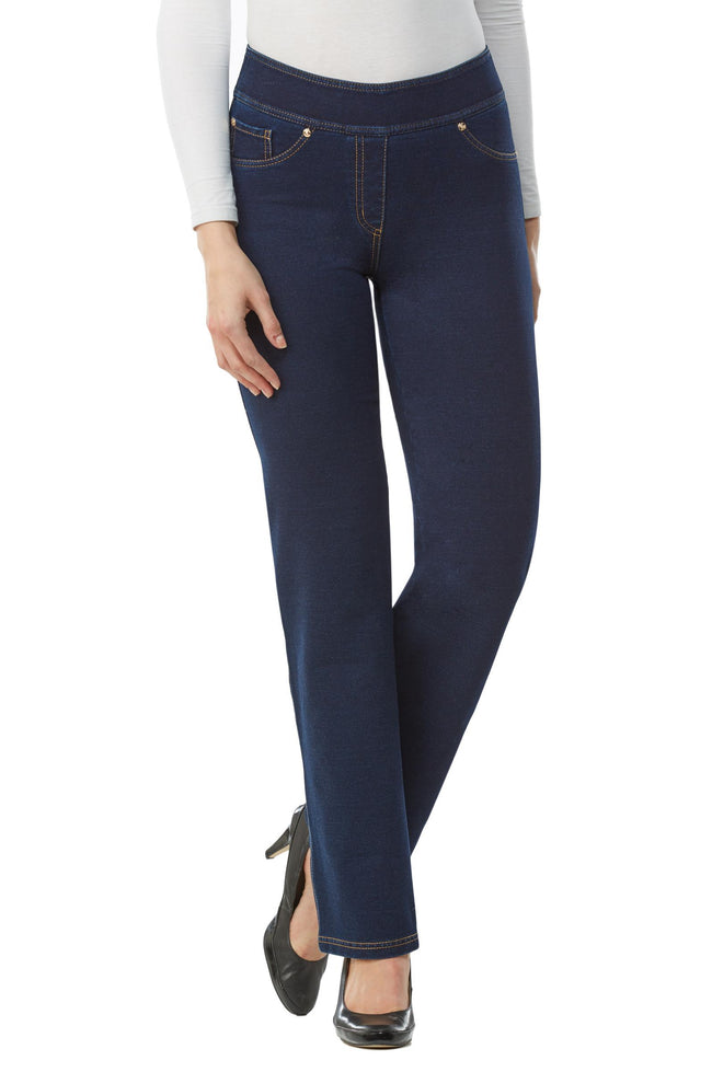 "Front view woman wearing straight leg denim jeggings from Nygard Slims with 2.5"" waistband"