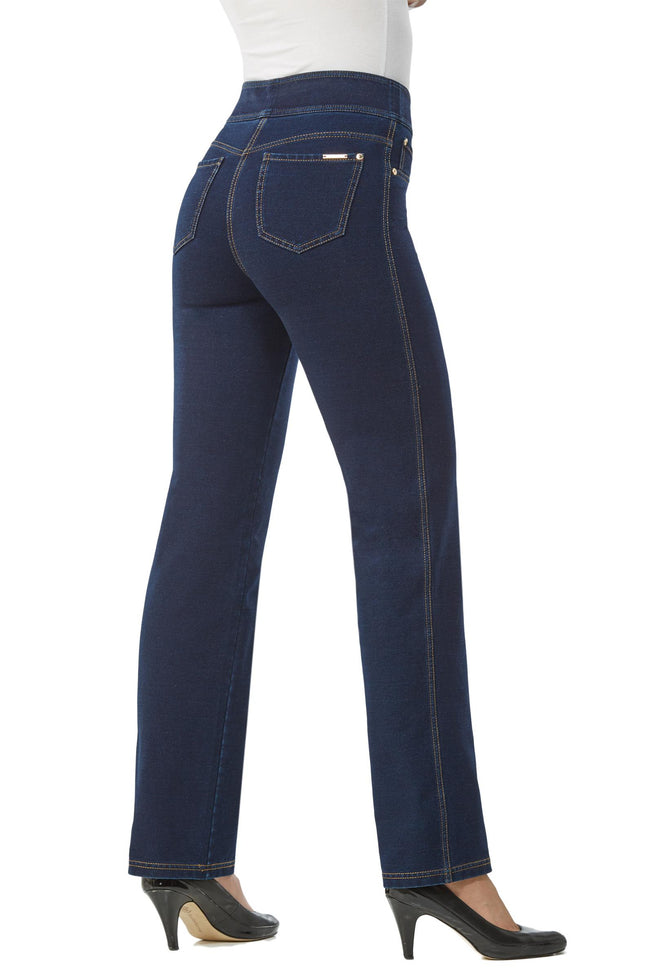 "Back view woman wearing straight leg denim jeggings from Nygard Slims with 2.5"" waistband"