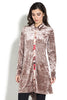 Front view woman wearing taupe velvet tunic top with multi-color back panel