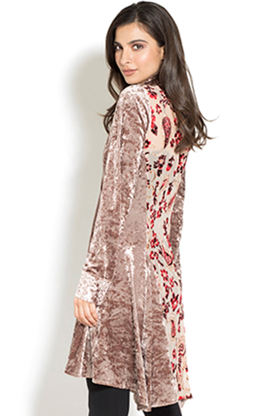 Back view woman wearing taupe velvet tunic top with multi-color back panel