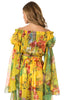Back view woman wearing sheer yello floral off the shoulder woven crop top