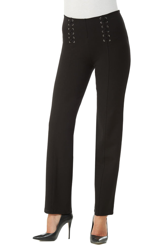 Front view woman wearing straight leg no-waist black pant w/lace-up detail on front left and right