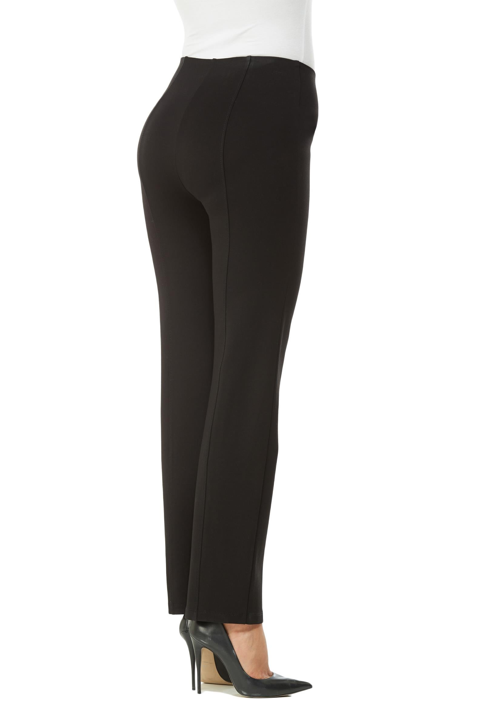 Back view woman wearing straight leg no-waist black pant w/lace-up detail on front left and right