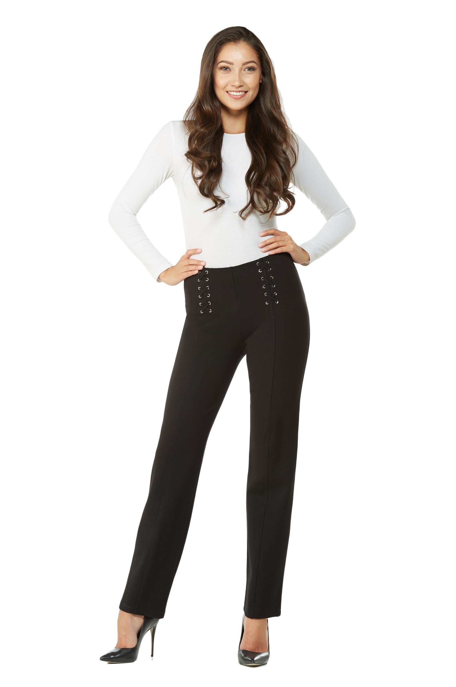 Full view woman wearing straight leg no-waist black pant w/lace-up detail on front left and right