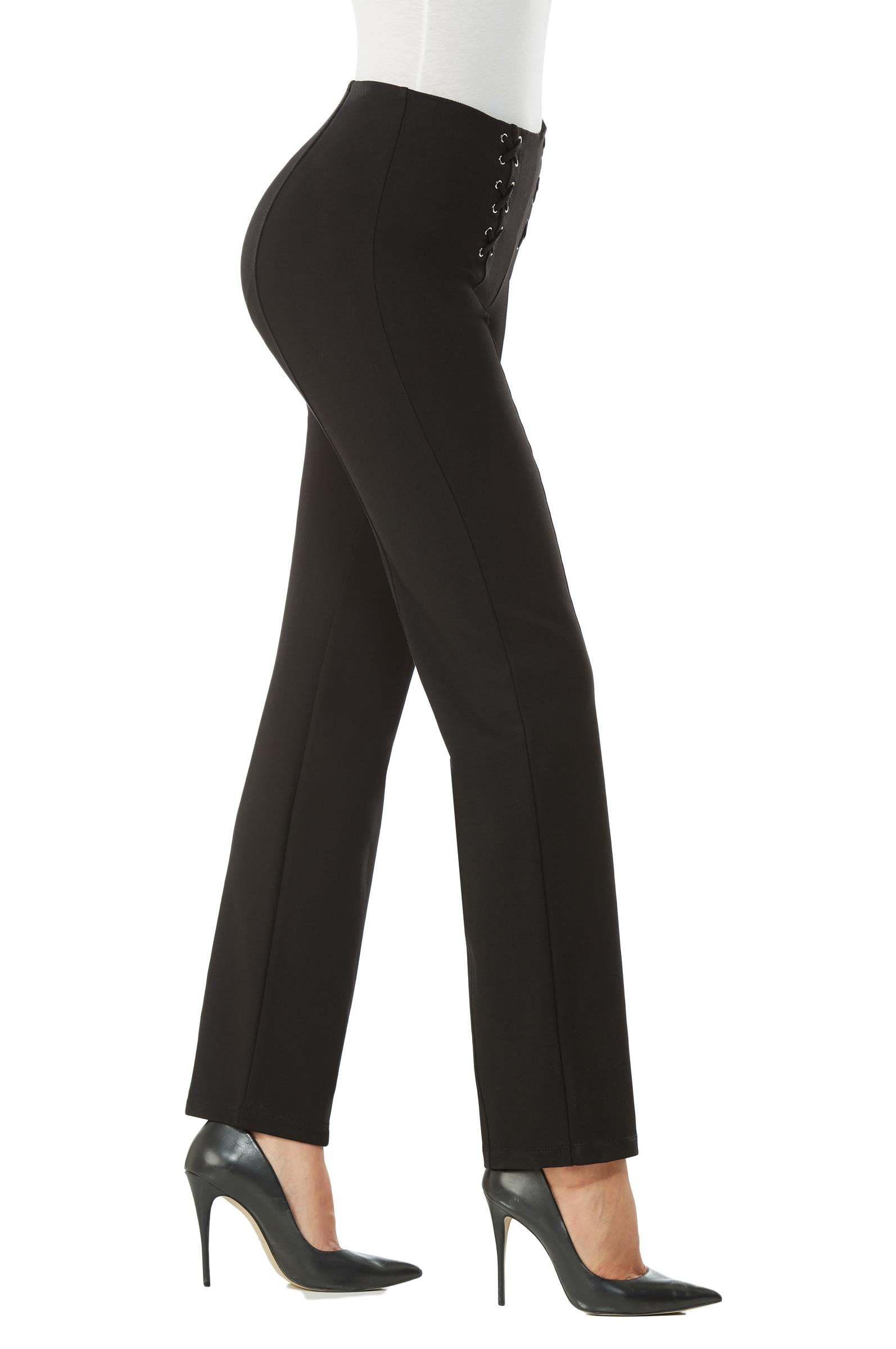 Side view woman wearing straight leg no-waist black pant w/lace-up detail on front left and right