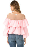 Back view woman wearing light pink sheer shoulder yoke ruffled crop blouse