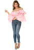 Full front view woman wearing light pink sheer shoulder yoke ruffled crop blouse