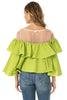 Back view woman wearing cactus green sheer shoulder yoke ruffled crop blouse