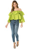 Full front view woman wearing cactus green sheer shoulder yoke ruffled crop blouse