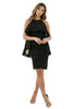Full front view woman wearing black halter dress with layered high-low cape