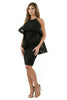 Left side full view woman wearing black halter dress with layered high-low cape
