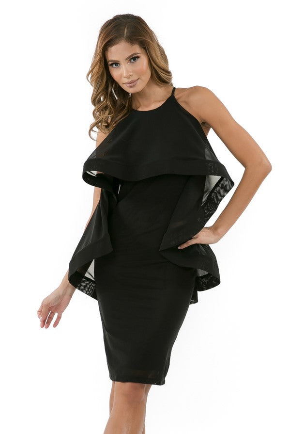 Front view woman wearing black halter dress with layered high-low cape