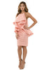 Left side full view woman wearing light pink halter dress with layered high-low cape