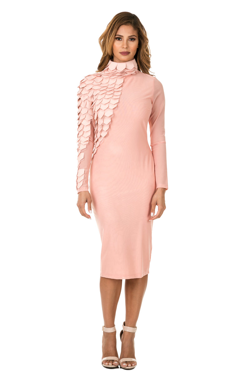 Front full view woman wearing light pink midi dress with layered patches from neck to wrist