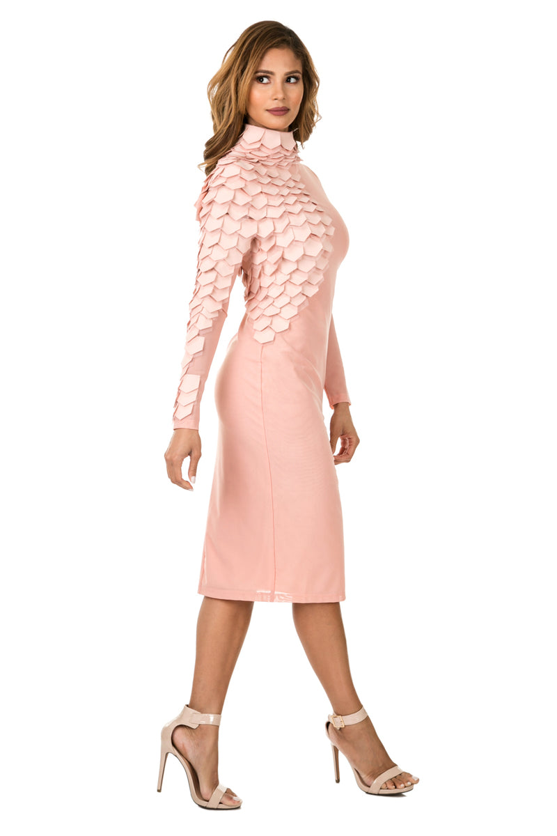 Side full view woman wearing light pink midi dress with layered patches from neck to wrist
