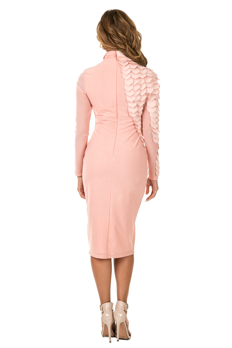 Back full view woman wearing light pink midi dress with layered patches from neck to wrist