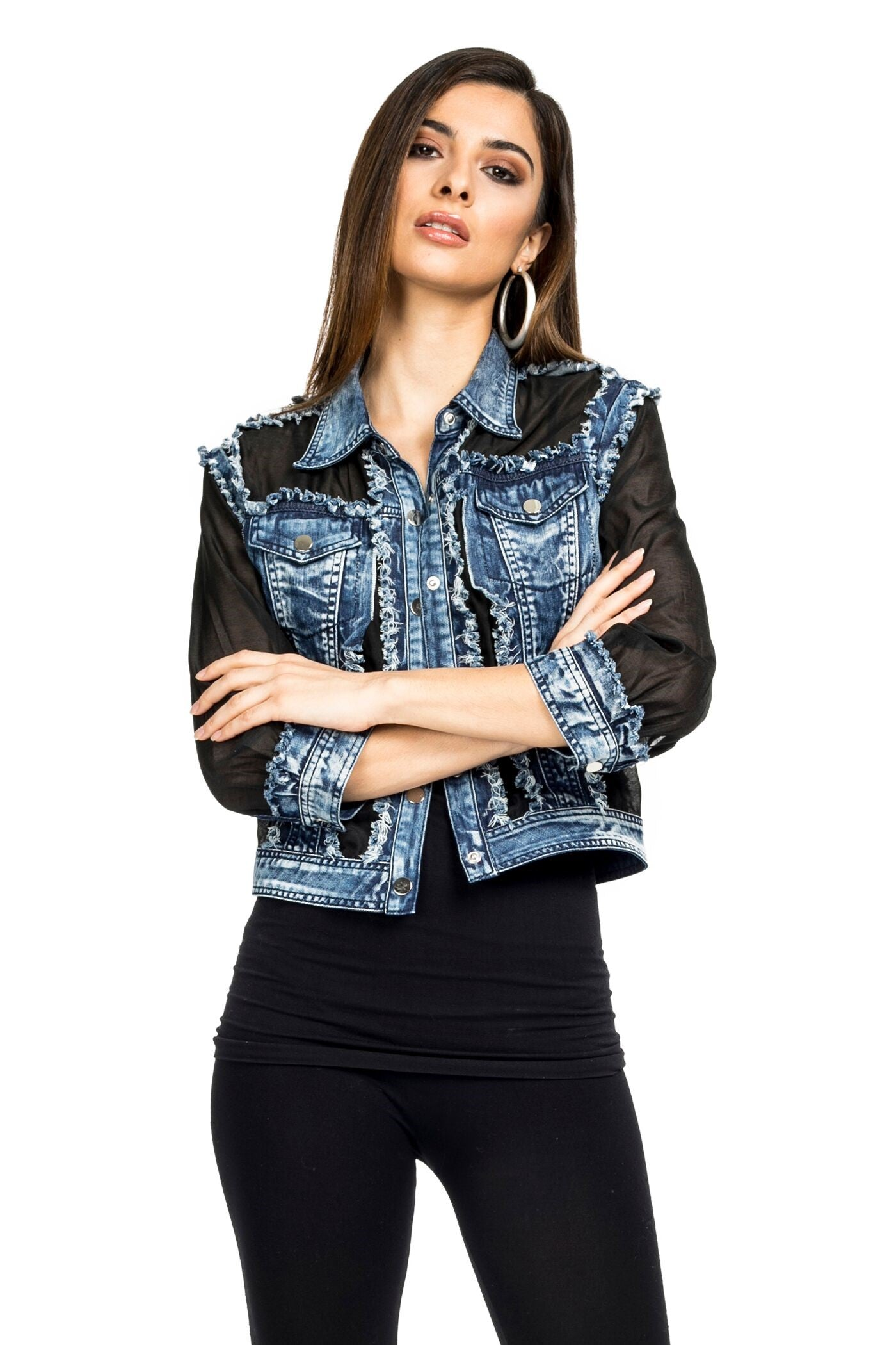 Front view woman wearing black denim/organza trucker jacket