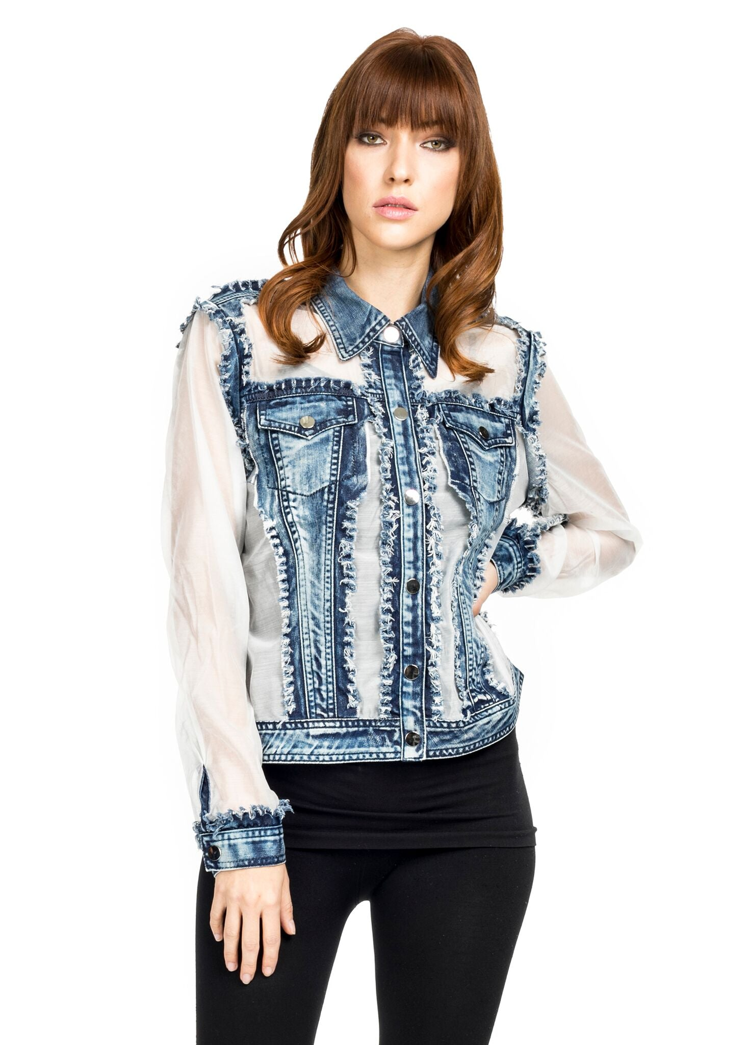 Front view woman wearing white denim/organza trucker jacket