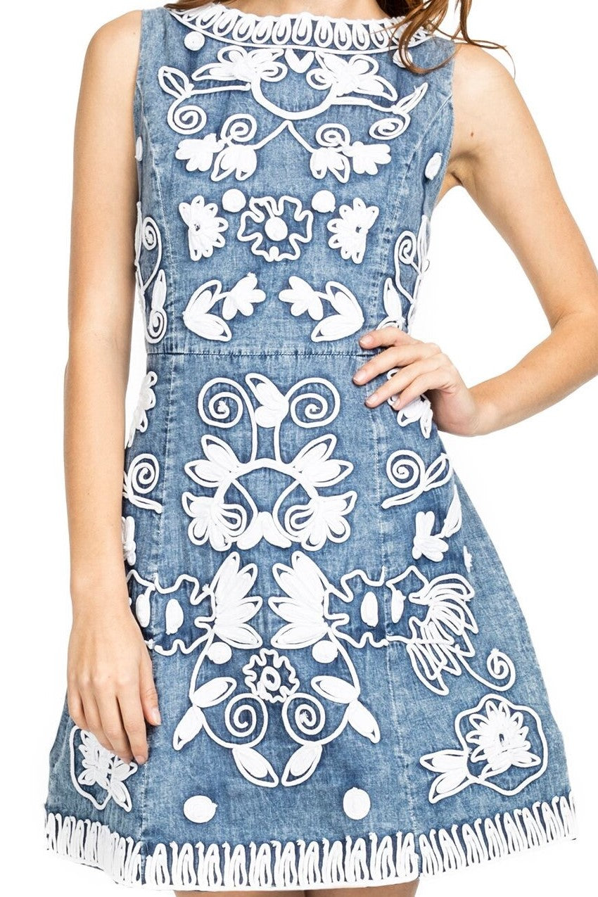 Contemporary Denim Fit and Flare Dress
