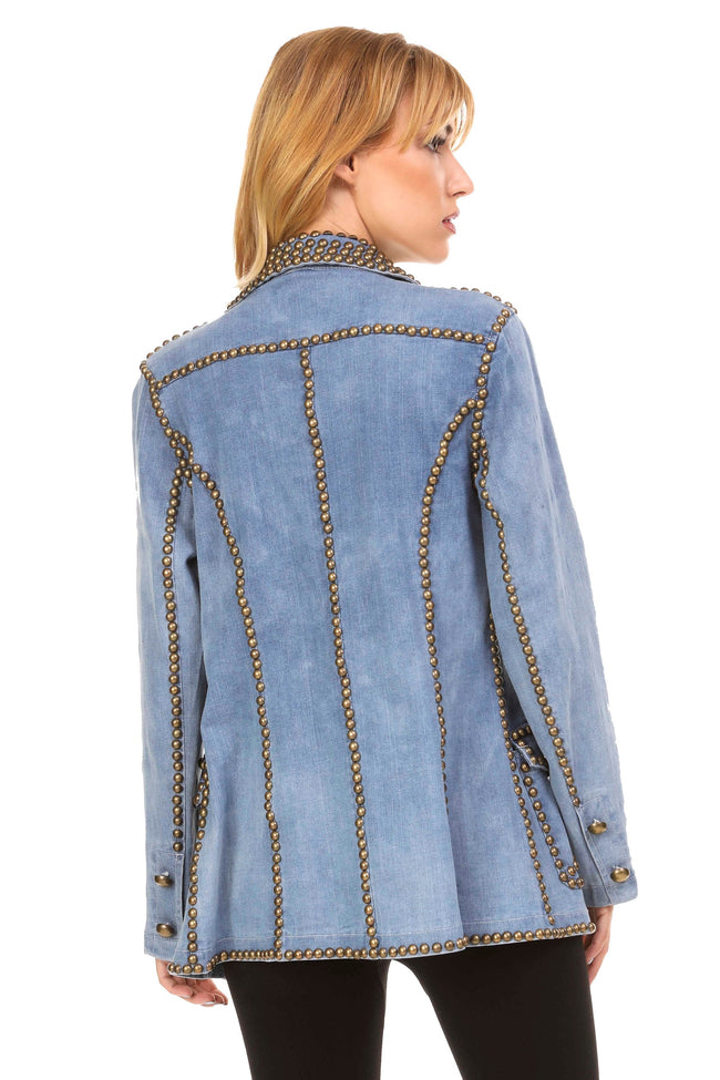 Back view woman wearing denim studded and embroidered jacket
