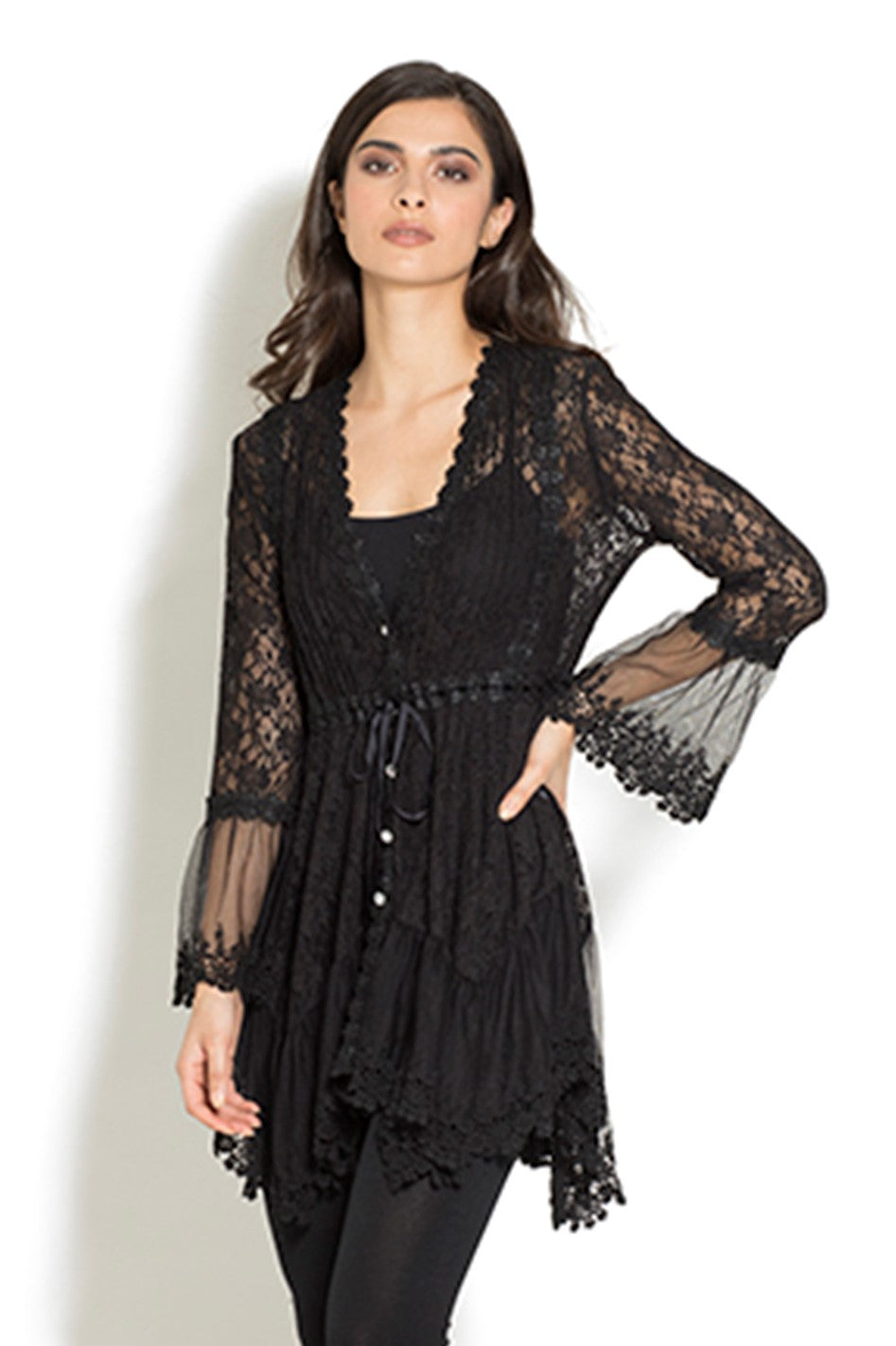 Front view woman wearing black empire waist stretch lace bell sleeve tunic top