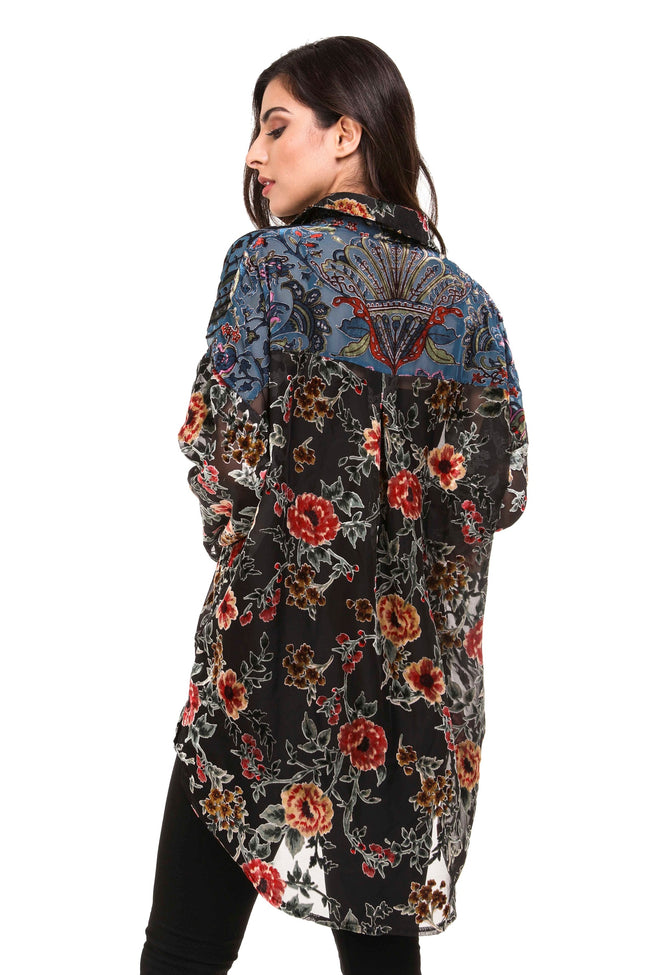 Back view woman wearing black burnout velvet patchwork tunic top